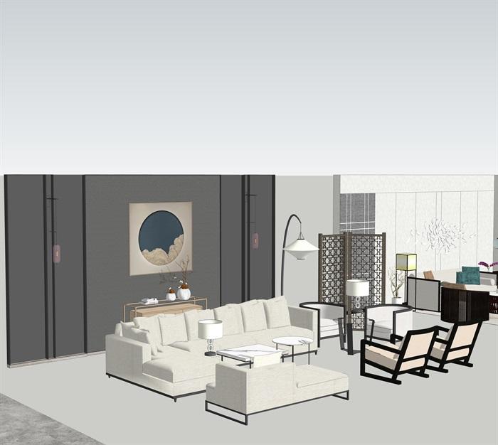 新中式室內設計家具擺件場景su模型素材(5)