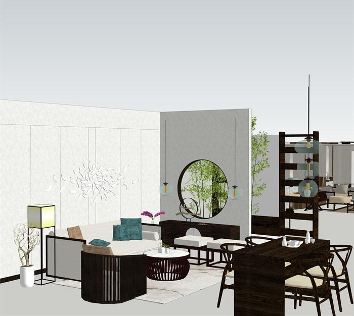 新中式室內設計家具擺件場景su模型素材(6)