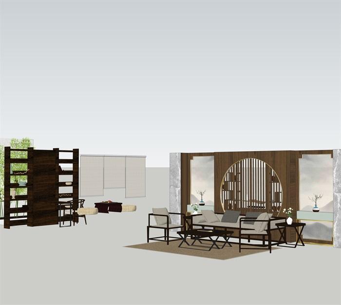 新中式室內設計家具擺件場景su模型素材(7)