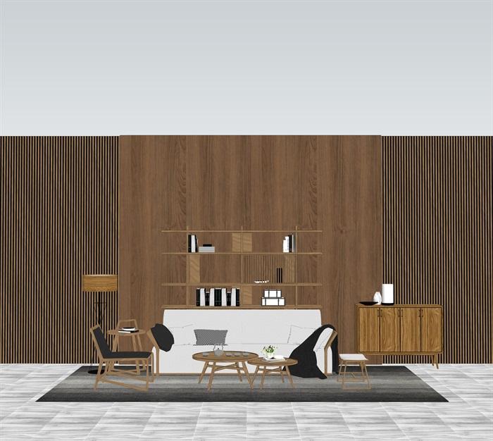 新中式室內設計家具擺件場景su模型素材(8)