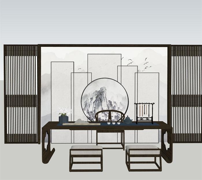 新中式室內設計家具擺件場景su模型素材(9)