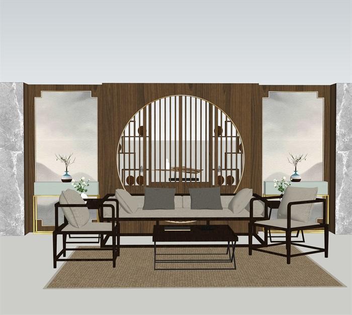 新中式室內設計家具擺件場景su模型素材(10)