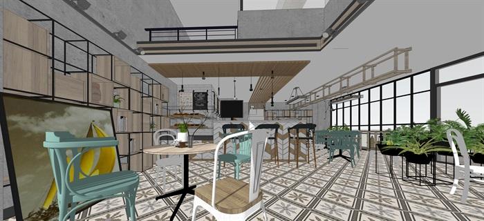 現代小資咖啡奶茶廳室內設計su素材模型(2)
