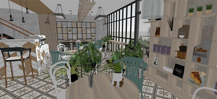 現代小資咖啡奶茶廳室內設計su素材模型(3)
