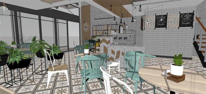 現代小資咖啡奶茶廳室內設計su素材模型(4)