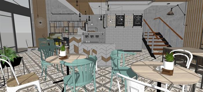 現代小資咖啡奶茶廳室內設計su素材模型(5)