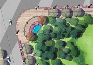 小区街道转弯处规划绿化平面图ps素材资料