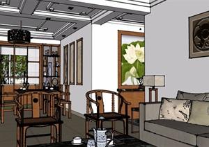 详细的住宅室内客餐厅装饰设计SU(草图大师)模型