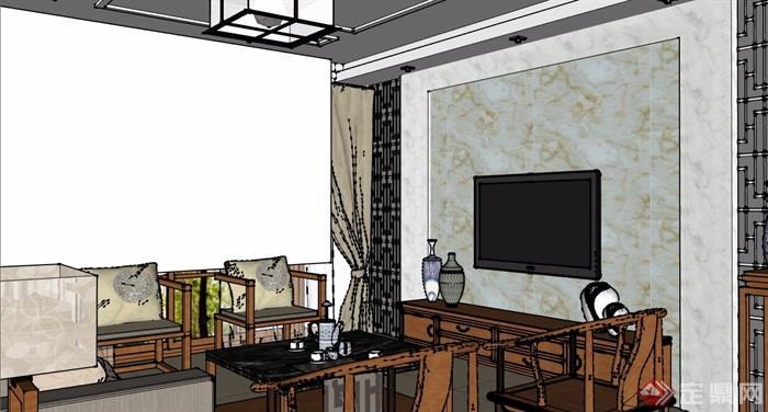 详细的住宅室内客餐厅装饰设计su模型