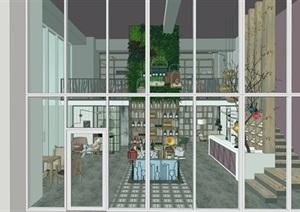 現代loft咖啡廳清酒吧書吧SU(草圖大師)模型素材資料