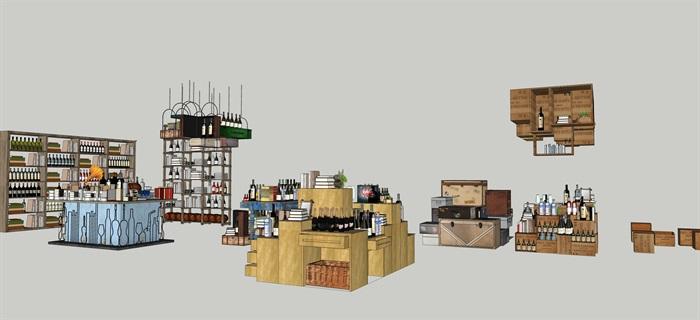 酒館酒吧貨架場景擺件su模型素材資料(1)