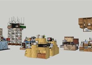 酒館酒吧貨架場景擺件SU(草圖大師)模型素材資料