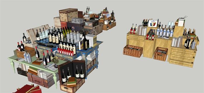 酒館酒吧貨架場景擺件su模型素材資料(4)