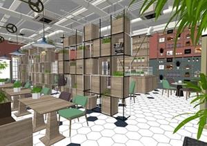 工业风小资咖啡厅西餐厅SU(草图大师)素材模型资料