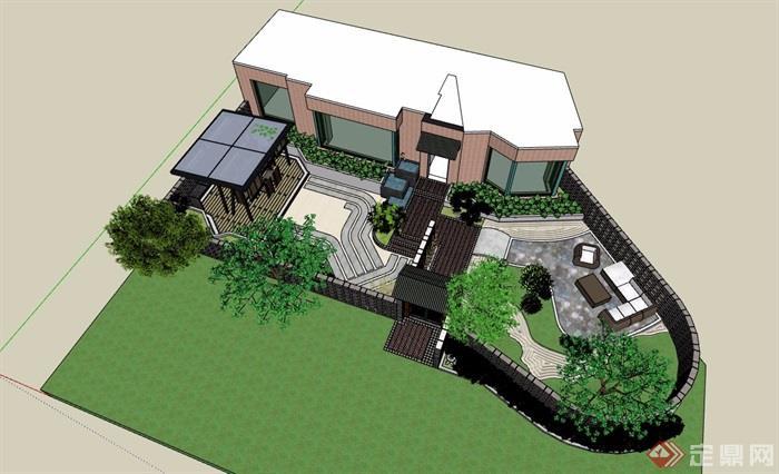 住宅别墅庭院景观设计su模型