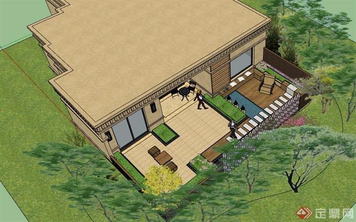 住宅庭院景观详细设计su模型