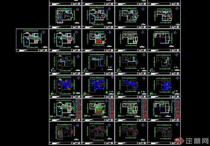 住宅详细的完整别墅空间装饰设计cad施工图