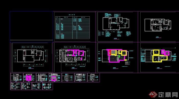 某详细的住宅完整别墅室内空间设计cad施工图