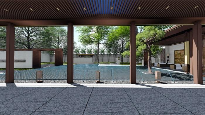 新中式别墅庭院大礼包(内含10套新中式庭院景观设计方案)(7)