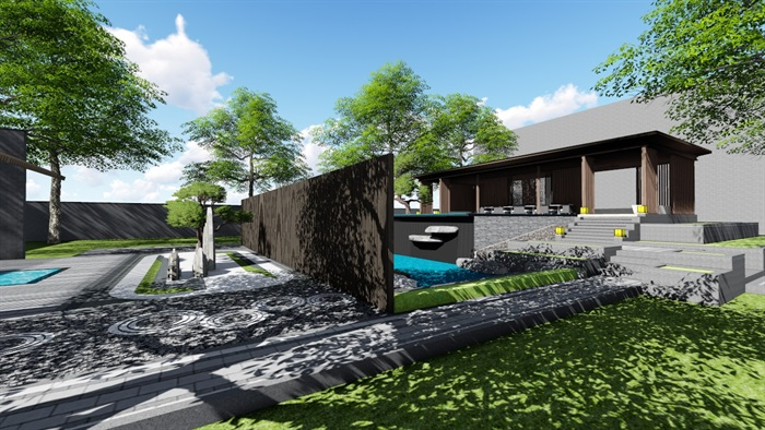 新中式别墅庭院大礼包(内含10套新中式庭院景观设计方案)(13)