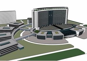现代风格详细的医院建筑设计SU(草图大师)模型
