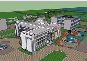 现代风格详细的多层医院建筑设计SU(草图大师)模型