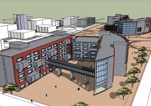 现代多层完整的学校教育建筑设计SU(草图大师)模型