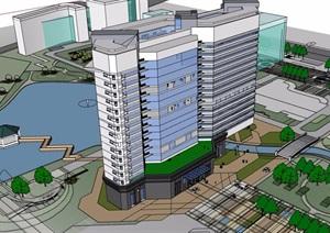 现代风格详细的高层医院建筑设计SU(草图大师)模型