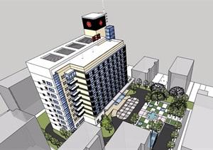 现代风格小高层医院详细建筑设计SU(草图大师)模型