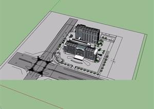 详细的独特医院详细建筑设计SU(草图大师)模型