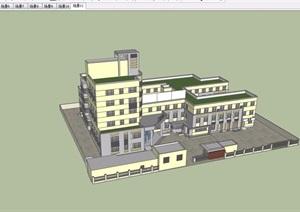 详细的完整医院详细建筑设计SU(草图大师)模型