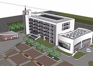 详细的完整教育整体建筑设计SU(草图大师)模型