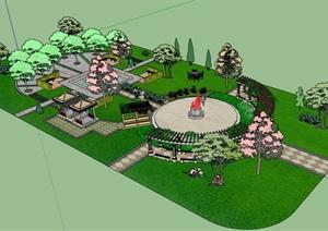 現代風格詳細的小游園景觀設計SU(草圖大師)模型