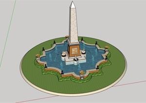 欧式风格雕塑喷泉水池景观详细设计SU(草图大师)模型