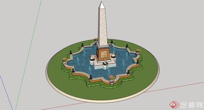 欧式风格雕塑喷泉水池景观详细设计su模型