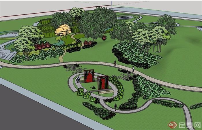 简单的游园详细设计su模型