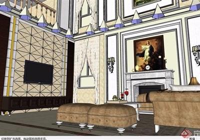 歐式風格詳細的住宅室內客廳詳細設計su模型