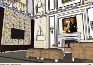 歐式風格詳細的住宅室內客廳詳細設計SU(草圖大師)模型