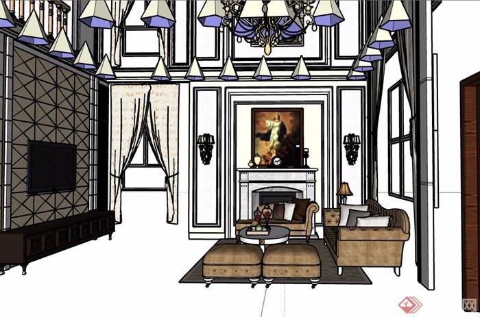欧式风格详细的住宅室内客厅详细设计su模型