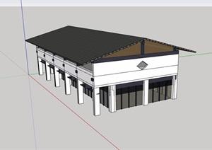 现代单层详细的完整厂房详细设计SU(草图大师)模型