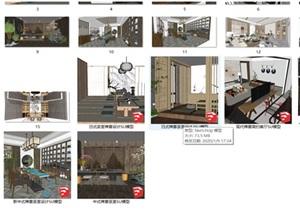 新中式日式現代茶室禪意設計SU模型(大禮包,內含七套茶室景觀設計)