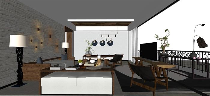 新中式日式现代茶室禅意设计SU模型(大礼包,内含七套茶室景观设计)(5)