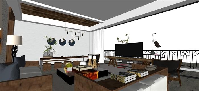 新中式日式現代茶室禪意設計SU模型(大禮包,內含七套茶室景觀設計)(6)