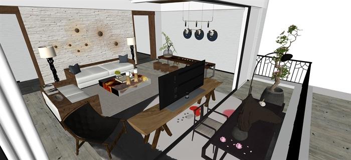 新中式日式现代茶室禅意设计SU模型(大礼包,内含七套茶室景观设计)(7)
