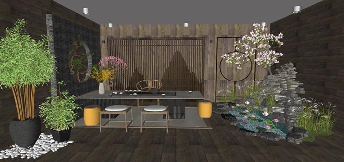 新中式日式现代茶室禅意设计SU模型(大礼包,内含七套茶室景观设计)(10)
