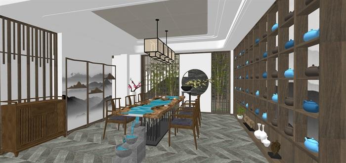 新中式日式现代茶室禅意设计SU模型(大礼包,内含七套茶室景观设计)(11)