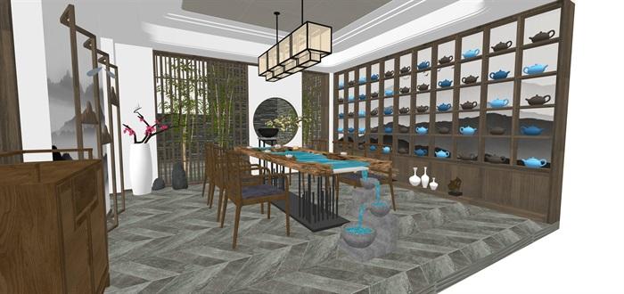 新中式日式现代茶室禅意设计SU模型(大礼包,内含七套茶室景观设计)(12)