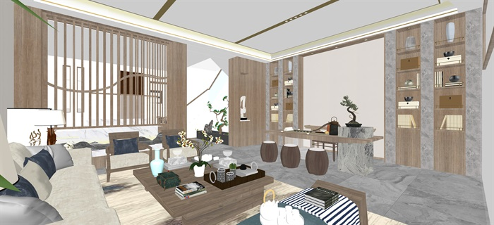 新中式日式現代茶室禪意設計SU模型(大禮包,內含七套茶室景觀設計)(13)