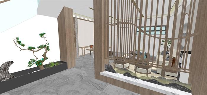 新中式日式现代茶室禅意设计SU模型(大礼包,内含七套茶室景观设计)(14)
