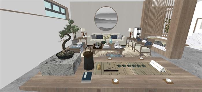 新中式日式现代茶室禅意设计SU模型(大礼包,内含七套茶室景观设计)(15)